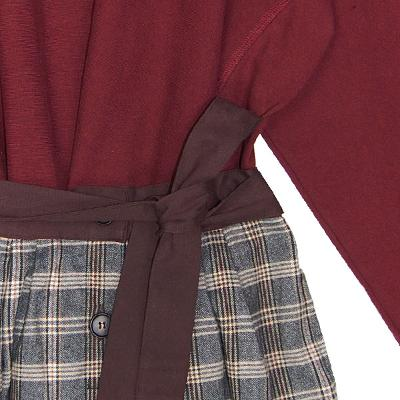 logo sweat shirt burgundy & ribbon check skirt